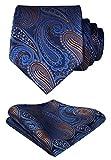 HISDERN Floral Paisley Wedding Tie Handkerchief Men's Necktie & Pocket Square Set (Blue & Brown)