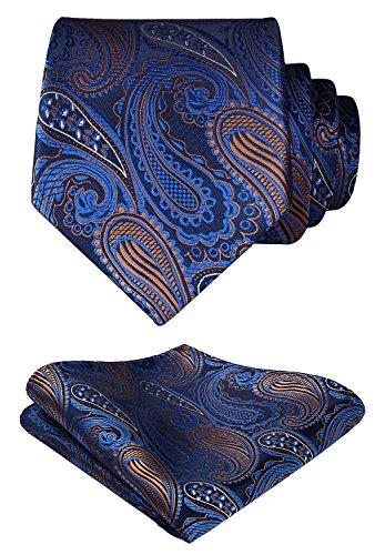Hisdern Herren Krawatte Blumen Paisley Hochzeit Krawatte & Einstecktuch Set Blau und Braun