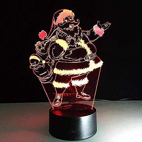 Nachtlichter Santa 7 Farblichter 3D Vision LED Nachtlichter für Kinder Touch USB Schlafen Weihnachtsgeschenke3D Fernbedienungslichter (Led-lampe 3497)