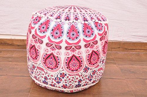 Indian Pink & Blau Floral Handgemachte Pouf ottoma cnover indischen Fußhocker Sitzsack Bodenkissen...