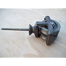Ironmongery World hierro fundido sola polea doble rueda tornillo placa ropa Ai.