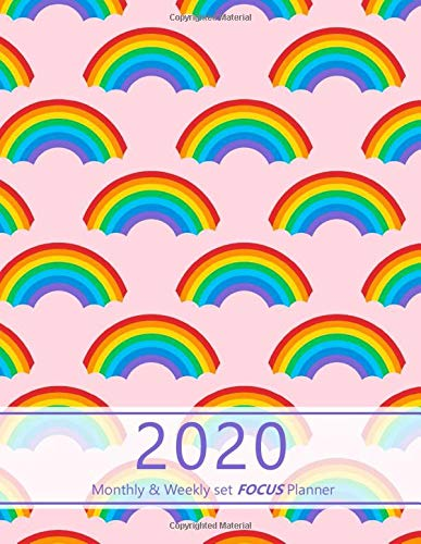 2020 Monthly & Weekly set focus Planner: Large. Monthly overview and Weekly layout with focus, tasks, to-dos and notes sections. Accomplish your ... design, rainbow pattern. Soft matte cover). -