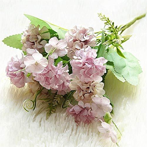 Seide Haufen (Luo Hao 9 Köpfe Hortensie Künstliche Blumen Ball Haufen Gefälschte Blumen Seide DIY Wohnkultur Faux Blumen Hochzeit Dekoration Tisch Strauß (Color : Purple))
