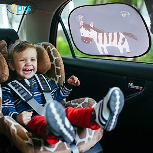 SPECOOL 2 Packs Zebra Autofenster Sun Shades für Babys und Kinder, Universalgröße für Seitenfenster Auto Sonnenschutz, Schutz vor UV-Strahlen und Hitze
