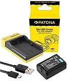 Slim Ladegerät + Akku für die Sony Alpha 6000 - Ersatzakku für Sony NP FW50 | einfach mit jedem micro-USB Kabel/Ladegerät (z.B. Smartphone) zu verwenden