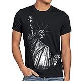 style3 Liberty Grafiti Camiseta para Hombre T-Shirt Estatua de la Libertad New York Punk Rock Tattoo, Talla:4XL