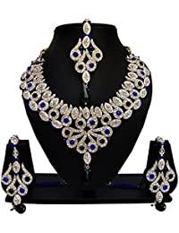 Jewels Guru Exclusive Golden Blue Green Necklace Set.