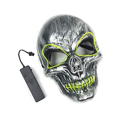 Edelehu LED-Schädel Leuchtende Maske Halloween-Maske Beängstigend Gruselig Horror Cosplay Kostüm Bandana Latex Beängstigenden Kopf Zombie-Maske