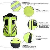 Reflektierende Sichtbarkeit Warnweste,Sicherheitweste Reißverschluss für Auto, KFZ, Fahrrad, Motorrad,L