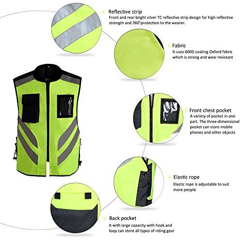 Cheerfulus Reflektierende Sichtbarkeit Warnweste,Sicherheitweste Reißverschluss für Auto, KFZ, Fahrrad, Motorrad,L