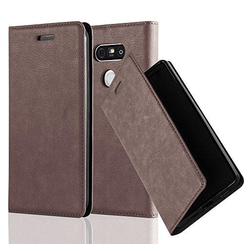 Cadorabo Hülle für LG G5 - Hülle in Kaffee BRAUN - Handyhülle mit Magnetverschluss, Standfunktion & Kartenfach - Case Cover Schutzhülle Etui Tasche Book Klapp Style