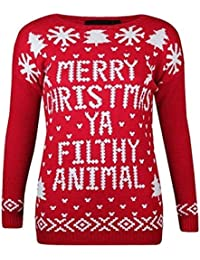 (womens merry christmas ya filthy animal jumper (mtc) Frauen Merry Christmas Ya Filthy Animal Steckbrücke (36/38 (uk 8/10), (red) rot)