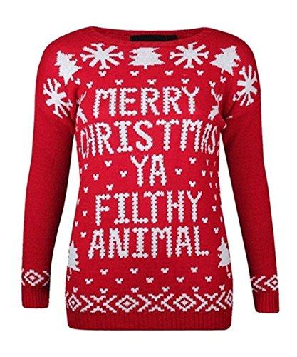 Damen Herren Unisex 'Merry Christmas Ya Filthy Animal' Neuheit Strickpullover Sweater (SM (UK 8-10 US 4-6 EU 36-38), Rot) (Christmas Filthy Animal Merry Ya Pullover)