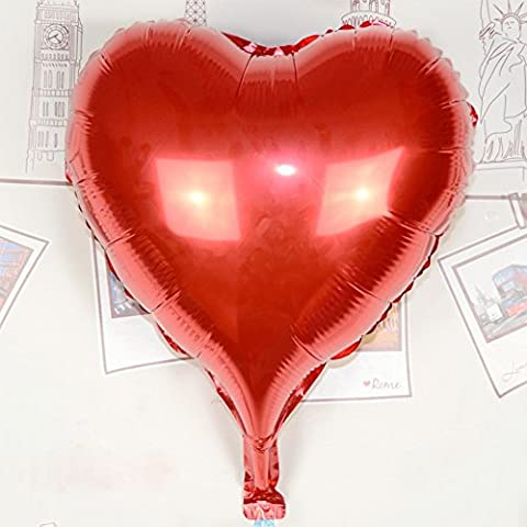 AIERNUO 50 pcs Heart Foil Balloons 10 inch Valentines Day Wedding Engagement Decorations (RED)