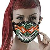 Kandi Gear Mascara Kandi de Miguelangelo de las Tortugas Nijas TMNT, mascara de rave, mascara para halloween, mascara con cuentas, mascara para festivales musicales y fiestas