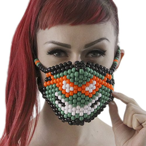 Michelangelo Ninja Turtles TMNT Kandi Mask by Kandi Gear, rave mask, halloween mask, beaded mask, bead mask for music fesivals and parties