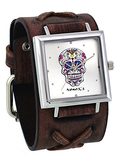 Nemesis #BDFXB94S Women's Sugar Skull Silver Dial Brown Double X Wide Leather Band Watch