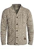 !Solid Philotus Herren Strickjacke Cardigan Grobstrick mit V-Ausschnitt Samt Knopfleiste aus 100% Baumwolle Meliert, Größe:L, Farbe:Dune (5409)