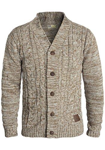 SOLID Philotus Herren Strickjacke Cardigan Grobstrick mit V-Ausschnitt samt Knopfleiste aus 100% Baumwolle Meliert Dune (5409)