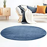 Taracarpet Kurzflor-Designer Uni Teppich extra weich fürs Wohnzimmer, Schlafzimmer, Esszimmer oder Kinderzimmer Gala dunkel-blau 120x120 cm rund