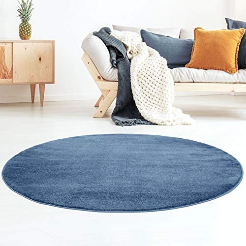 Taracarpet Kurzflor-Designer Uni Teppich extra weich fürs Wohnzimmer, Schlafzimmer, Esszimmer oder Kinderzimmer Gala dunkel-blau 120x120 cm rund -