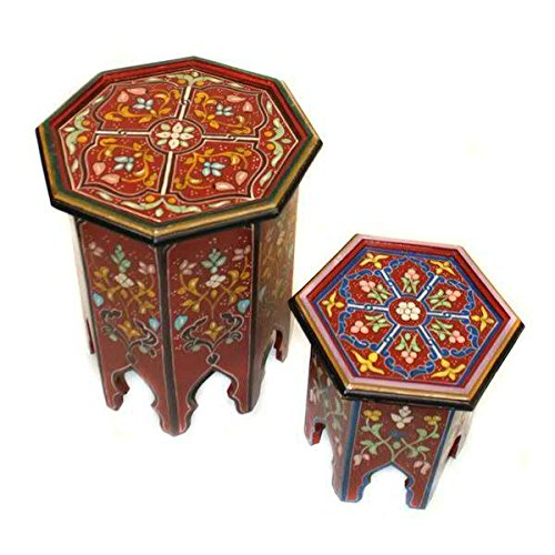Holz Hocker im Orientalischen Stil - 2er Set - 41cmx41cmx53cm / 34cmx34cmx35cm - Farbe: Bordeaux - Hochwertige Marrakesch Dekoration