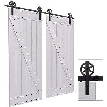 hahaemall poulies en acier avec rail de support pour porte coulissante de grange chambre salle. Black Bedroom Furniture Sets. Home Design Ideas