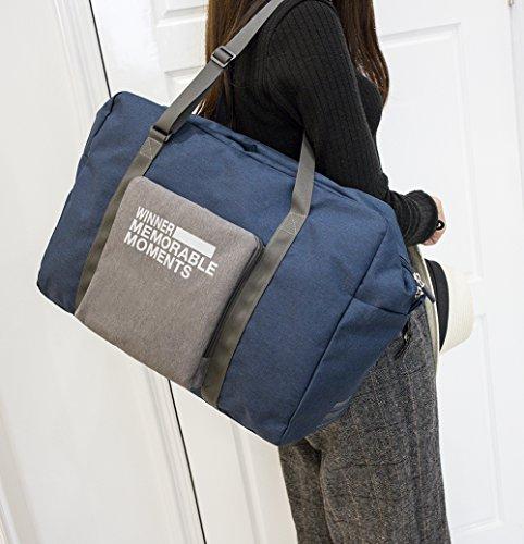 iSuperb Faltbar Reisetaschen Travel Duffel Bag Roomy Tasche Handtasche 23L Large Capacity Tragbare leichte Gepäck Tasche für Reise Einkaufen (grau) Dunkelblau