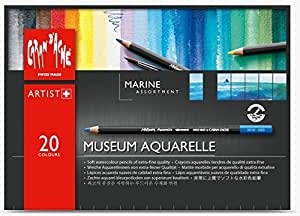 Caran Dache Set Of 20 Marine Colours Museum Aquarelle Soft Watercolour Pencil Water Soluble Sketching Artist Assorted Colour 3510_420