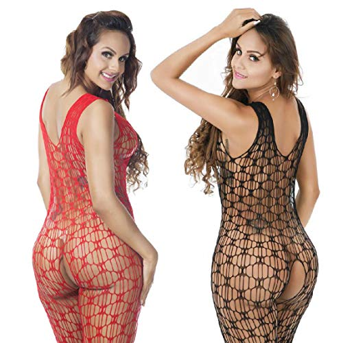 Amoure 2 Pack Damen Unterwäschen Bodystockings Reizwäsche Netz Strumpfhose Hohle Blumen Jumpsuit Frauen Bodysuit Nachtwäsche Dessous (Schwarz+Rot) - Roter Bodystocking