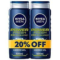 NIVEA, MEN, Shower Gel, Power Fresh, 2 x 500ml