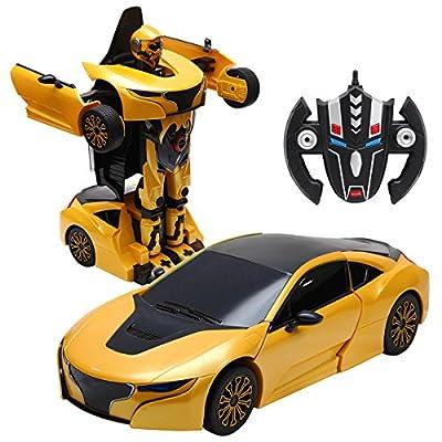 COSTWAY 2,4 GHZ RC Transformator Roboter-Auto Ferngesteuert Transformers Auto & Robot verwandelbar 1:14RS von COSTWAY