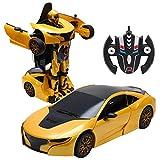 COSTWAY 2,4 GHZ RC Transformator Roboter-Auto Ferngesteuert Transformers Auto & Robot verwandelbar 1:14RS (gelb)