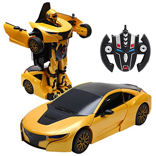 Transformers 4-autos (COSTWAY 2,4 GHZ RC Transformator Roboter-Auto Ferngesteuert Transformers Auto & Robot verwandelbar 1:14RS (gelb))