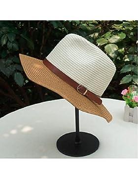 LVLIDAN Sombrero para el sol del verano Lady Anti-Sol Playa plegable sombrero de paja blanco