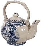 Teiera in stile inglese L14xPR11xH14 cm in ceramica decorata bianca e blu