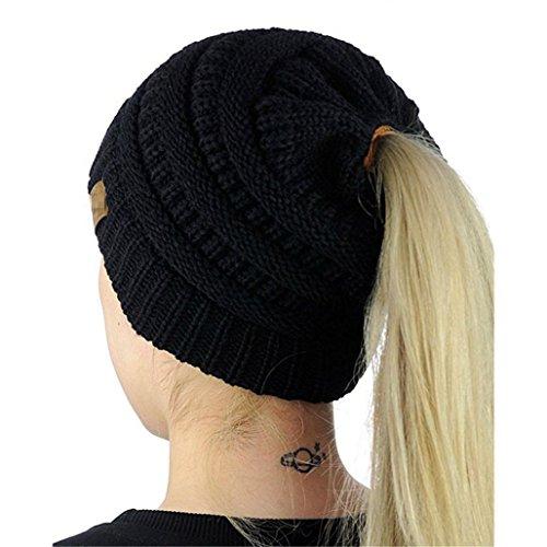 SHOBDW Winter Strickmütze Frauen Damen Stricken Krebs Hut Beanie Turban Kopf Wickeln Cap Pile Cap (B-Schwarz)