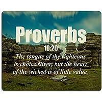 Bible Verses quote Proverbs 10_ 20la lingua dei giusti è Choice argento ma il cuore dei Wicked è di Little Value Msd Customized Made to Order Cloth with neoprene rubber mouse Pads