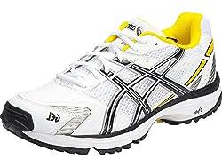 Asics Mens Gel-Hardwicket 5 White, Black and Yellow Cricket Shoes - 11 UK/India (46.5 EU) (12 US)