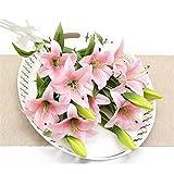 SOQHD Künstliche Blumen gefälschte Lily 4 Sträuße Gefälschte Blumen-Blumenstrauß (Color : Pink)