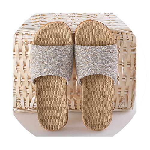 Summer Flax Slippers Casual Indoor Floor Shoes Home Slipper Women Men Open Toe Slippers Flat Shoes,Beige,6.5