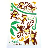 3D Small Monkey & Banana Felt Stickers for Children Crafts & Card Making