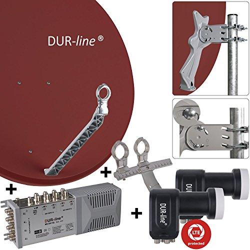 """DUR-line 8 Teilnehmer Set/2 Satelliten - Qualitäts-Alu-Sat-Anlage """"DVB-T2 Alternative"""" - Select 85/90cm Spiegel/Schüssel Rot + DUR-line Multischalter + 2xLNB - Satelliten-Komplettanlage - für 8 Receiver/TV [Neuste Technik - DVB-S/S2, Full HD, 4K/UHD, 3D]"""