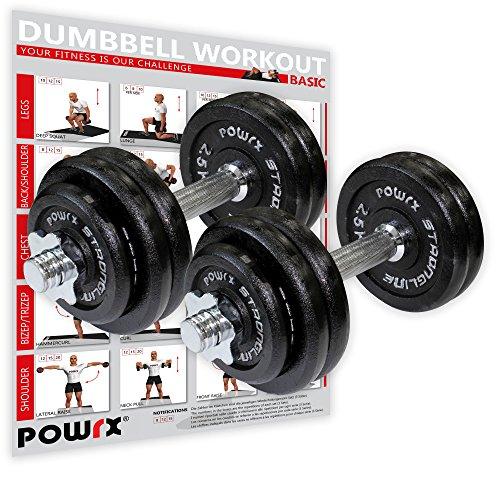 POWRX - Mancuernas Hierro Fundido 30 kg Set (2 x 15 kg) + PDF Workout (Negro)