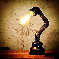 OYGROUP Edison Industrial Retro Lámpara De Escritorio Lámpara De Mesa De Agua De Hierro Steampunk Craftsmanship Iluminación Interior De E27