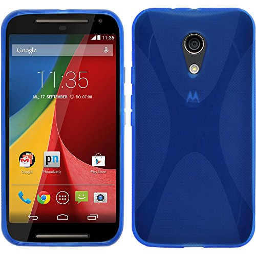 PhoneNatic Case kompatibel mit Motorola Moto G 2014 2. Generation - blau Silikon Hülle X-Style + 2 Schutzfolien
