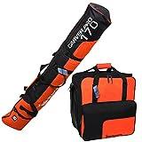 Brubaker Conjunto de Bolsa para esquíes y Bolsa para Botas de esquí para 1 par de esquís hasta 170 cm + Polos + Zapatos + Casco, Negro y Naranja
