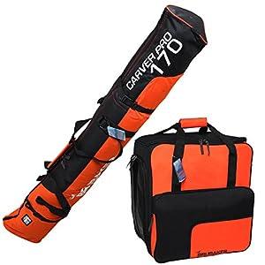 Brubaker Kombi Set Skisack und Skischuhtasche für 1 Paar Ski 170 cm und 190 cm + Stöcke + Schuhe + Helm Schwarz Orange