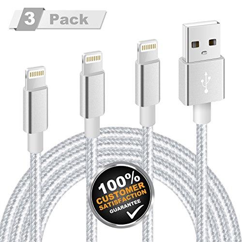 iPhone Ladekabel, MiTE Lightning Kabel [Nylon geflochten] 1M+2M+3M für iPhone X/8/7/6 Plus/6S/5S/iPad Mini, iPad Air 2/Pro und mehr (Silber-Grau)