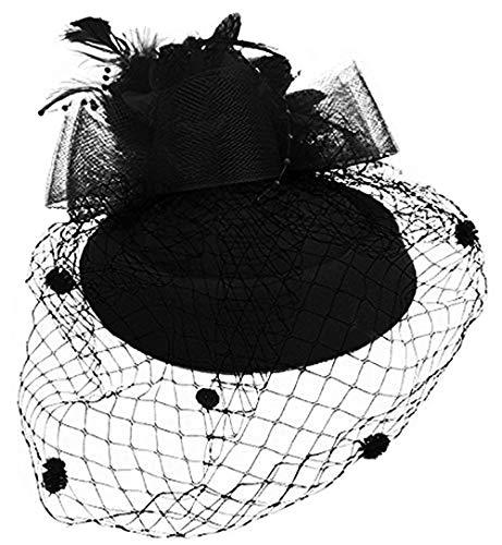 Hut Mit Schleier Kostüm Schwarzen - FORLADY Net Garn Kopf Blume Hut Haarschmuck Kopf Ornamente Bühnenshow Schleier Schmuck Bankett Party Zubehör Frauen